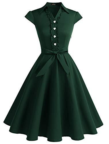 WedTrend Damen 50er Retro Herzform Knopf Rockabilly Kleid Kurzer Ärmel A-Linie Kleider WTP10007 ForestGreen S Vintage-kleid