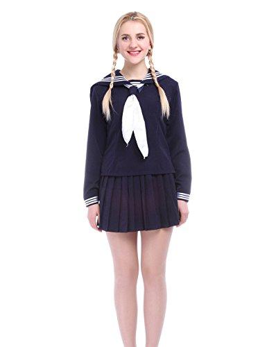 Nuoqi® Mädchen Langarm Schule einheitliche Kleid Marine Kostüme dunkelblau (XL, (Kostüm 50's Cheerleader)
