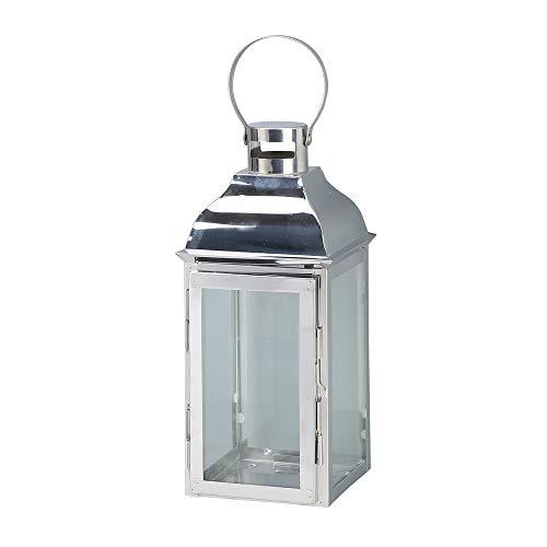 JHY Design Dekorative Laternen, 38,1 cm hoch, Edelstahl Kerzenlaterne mit gehärtetem Glas, für drinnen und draußen, für Veranstaltungen, Paritäten und Hochzeiten, Vintage-Stil Edelstahl-Silber