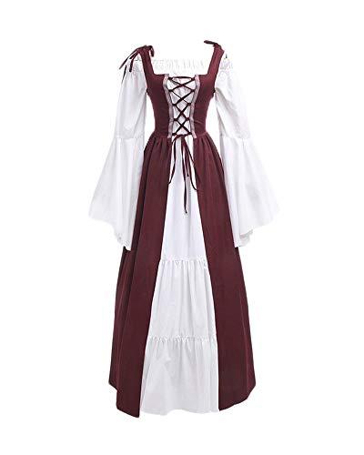 DianShaoA Damen Mittelalter Kleider Viktorianischen Königin Kleid Cosplay Kostüm Langarm Kleid-Gothic Jahrgang Prinzessin Renaissance Bodenlänge Burgunderrot L (Renaissance Kostüm Für Frauen)