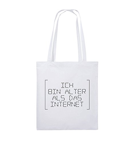 Borse Da Commedia - Sono Più Vecchio Di Internet - Retro - Borsa Di Juta - Manico Lungo - 38x42cm - Colore: Nero / Argento Bianco / Grigio