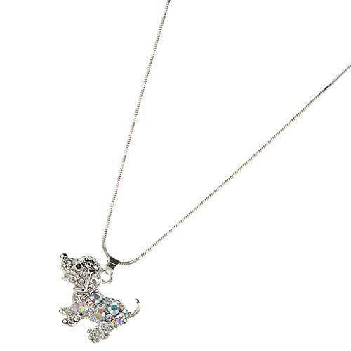 Sharplace Damen Halskette mit Hund Anhänger, Niedliche Halsketten Kette, Schmuck Geschenke für Frau Freundin - Silber