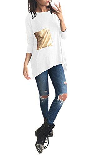 T-Shirt Donna Eleganti Manica Lunga Rotondo Collo Basic Larghe Vintage Cucitura Paillettes Tasca Moda Unique Casual Autunno E Inverno Maglietta T Shirt Blusa Top Camicia Bianco