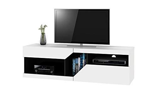 Selsey - Virginia - Meuble TV/Meuble Salon - 160 cm - Blanc et Noir laqué - 3 niches - 2 tiroirs - Style Industriel - Style Moderne