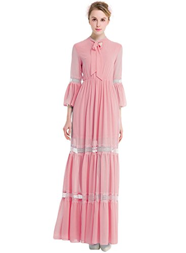 Azbro Women's Self Tie Collar 3/4 Sleeve Maxi Chiffon Dress Pink