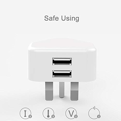 SUNMOON light(R) Dual USB 2 Port UK 3 Pin Plug Wall Charger 2A Travel Home AC Per Adapter for iPhone,Samsung and Android Mobile Phone (White) - Uk Ladegerät