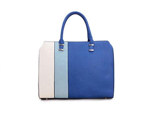 SwankySwans - Jess Stripe, Borse a Tracolla Donna Blu (Blue (Bright Blue))