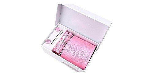 Coffret Louxor - Cravate rose à motifs faux carrés labyrinthe, boutons de manchette, pince à cravate, pochette de costume