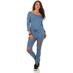 Mr.Shine Damen Langarm Hosenanzug Jumpsuit Damen Elegant Lang Hosen Trägerlos Overall S-XXXL (XL, Jeans Blau)