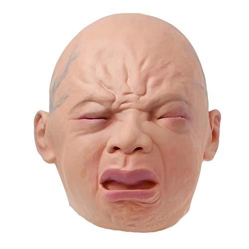 Geist Furchtsame Gesicht Kinder Kostüm - WSJMJTM Realistische Schreiende Schreiende Maskenperücke Der Babymaskenvollkopf-Halloween-Barraum-Spukhaus-Horrormaskenrolle, Die Stangenshow Spielt