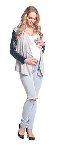 Happy Mama Femme Maternité Blazer grossesse effet cascade en similicuir. 098p Gris Chiné