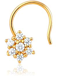 Mahi CZ Collection Gold Plated Daisy Bloom Fashion Nose Ring for Womens - NR1100124G