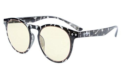 Eyekepper Retro Weinlese-Flex-leichter Plastikrunder Rahmen-Computer-Glas-Leser-Brillen (graue Schildkröte-Schale, gelbe getönte Objektive)