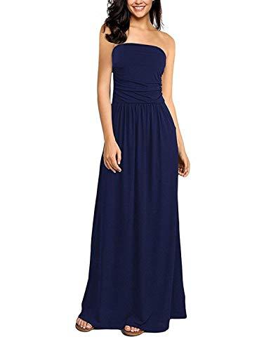 GHYUGR Robe Longue Fleurie Bustier Bandeau Robe de Plage Bohême Epaule Nu Imprimé Dress Été pour Soirée Ceremonie Cocktail,Bleu 1,M