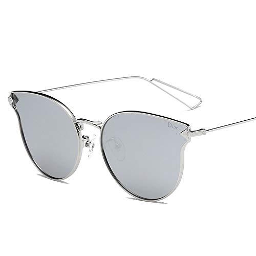 Saplnu Blaue Sonnenbrille, Stil Unisex, UV-geschützte polarisierte Sonnenbrille Uv400, zum Fahren, Reisen, Party, Verschiedene Gesichter, Multicolor, Metallrahmen,Silver