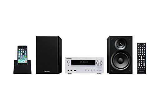 Pioneer X-HM32V Hifi-Micro-System (DVD/CD-Player, Lautsprecher, Bluetooth, Radio, USB 2.0, MP3, 2 x 30 Watt, App für Apple iOS und Android), Kompaktanlage mit Aluminium Front, Silber (Home-audio-systeme, Cd-spieler)