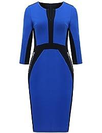Womdee Damen V Ausschnitt 3/4 Ärmel Business Kleid