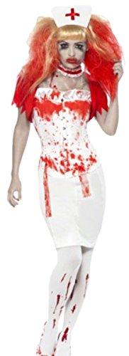 Karnevalsbud - Damen Zombie Krankenschwester Kostüm, Halloween, M, Weiß-Rot (Michael Jackson Zombie Kostüme)