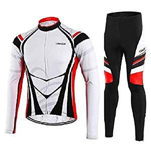 conjuntos: Lixada Chaqueta de Ciclismode Manga Larga+Pantalones de Acolchado 3D para Hombre...
