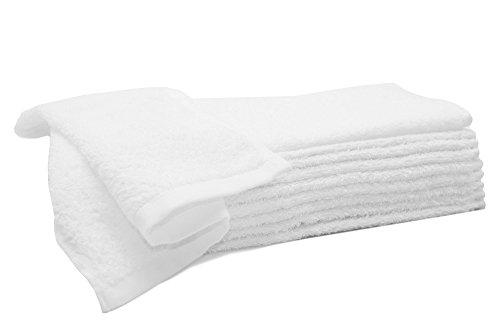 Zollner 10er Set Gästehandtücher Seiftücher aus Baumwolle, weiß, ca. 30x30 cm, Serie Amalfi