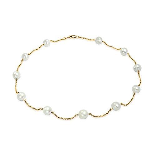 Einfach 14K Gelb Gold Tin Cup Weiße Süßwasser-Zuchtperle Halskette Für Damen 16 Zoll - Tin Cup-halskette