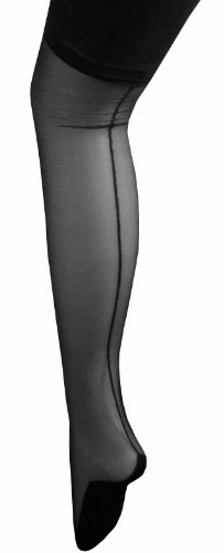 Schwarz (Dancing Girl Blk Seamed Stockings) Retro-Stil Burleske Strümpfe, Gr. Medium