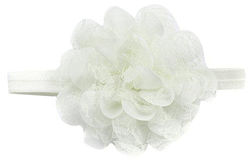 EOZY Nouveau Design Fleur Bébé Fille Bandeau Cheveux Headband Élastique Blanc