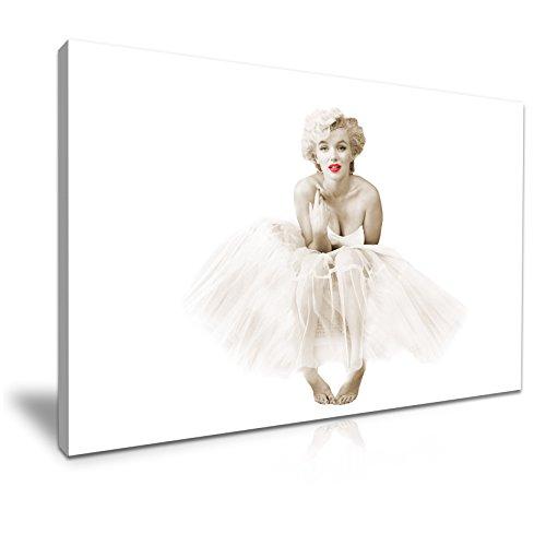 MARILYN monroe-ballerina rot Lippen auf Leinwand Wand Kunstdruck Bild 76x 50cm
