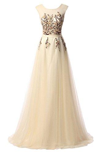 ivyd ressing Donna applicazione a girocollo di linea Prom abito Fest vestito abito da sera Champagne