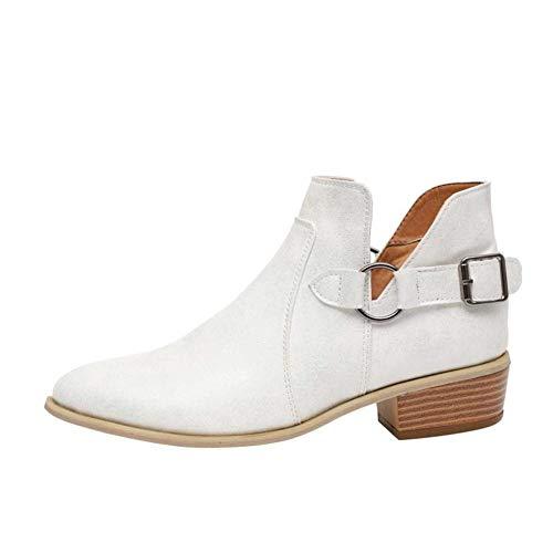 Stiefeletten Damen Chelsea Boots Ankle Leder Blockabsatz Kurzschaft Stiefel 5Cm Absatz Schuhe Winter Elegant Schwarz Weiß Gr.35-43 WH37