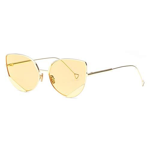 ZJHZJH Sonnenbrille Frauen Persönlichkeit Cat Eye Getönte Flat Panel Objektiv Metall Nose Pad Retro Sonnenbrille UV400