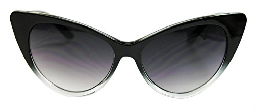 50er 60er Jahre Damen Retro Sonnenbrille Cat Eye Katzenaugen Rockabilly Modell FARBWAHL KE (Black Ombre)