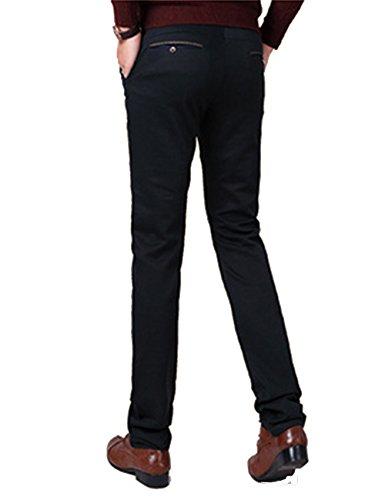 Menschwear Nuovo da uomo Stretch Pantaloni regolare Fit Straight Legs Nero