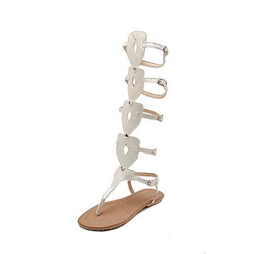 koperras Women Knee Length Bandage Sandals Rivets Buckle Strap Anti-Slip Flat Roman Style Long Shoes