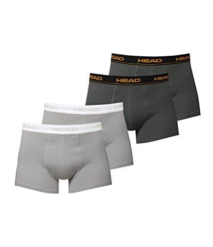 HEAD Herren Boxershorts 841001001 4er Pack, Wäschegröße:L;Artikel:2x grey 2x dark shadow (Head Shorts)