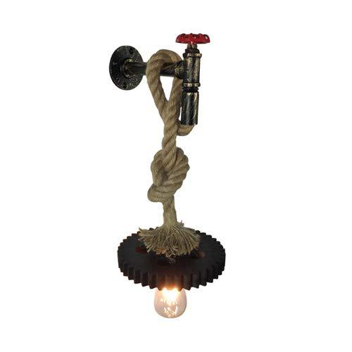 KMYX Vintage E27 Tubería de Agua Industrial Steampunk Wall Light Creativo Retro Tejido A Mano Cuerda de Cáñamo Lámpara de Pared de Hierro Forjado para Restaurante Dormitorio Cafetería Cafetera