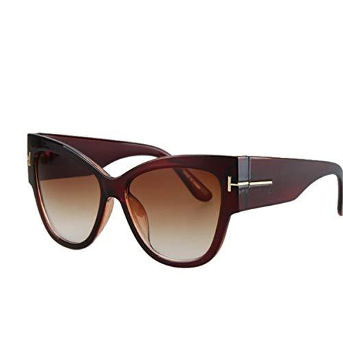 Sport-Sonnenbrillen, Vintage Sonnenbrillen, New Gradient Points Cat Eye Women Sunglasses Tom High Fashion Sun Glasses Female Cateyes Sunglasses Women Oculos Dark brown
