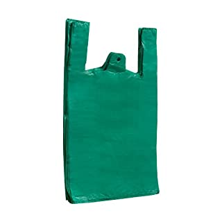 Vest Style Carrier Bags, Recycled Green Vest Carrier Bags 11 X 17 X 21