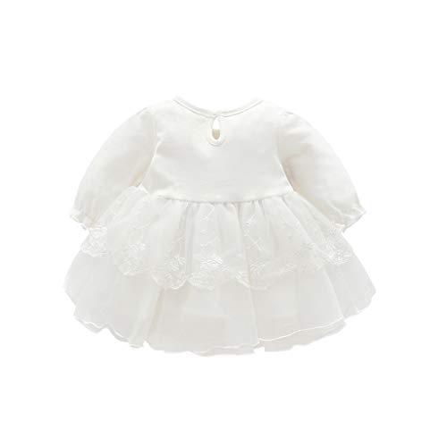 IZHH Kinder Kleider, Frühling Herbst Infant Baby Kinder Mädchen Party Spitze Tutu Prinzessin Kleid Kleidung Outfits Swing Dresses 0-18M(Weiß,80)