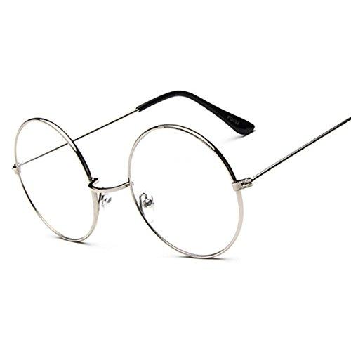 YY Club Vintage Fashion Runde Sonnenbrille Metall Frame Aviator Clear Lens Brillen Frauen Mädchen Zubehör, Silber