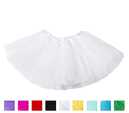 Ruiuzi Tutu-Rock für Kinder, Mädchen, klassisch, 4-lagig, Tüll, Tutu, Rock für Partys, Halloween, Partys, Kostüme (Weiß, Kinder (2-8 Jahre))