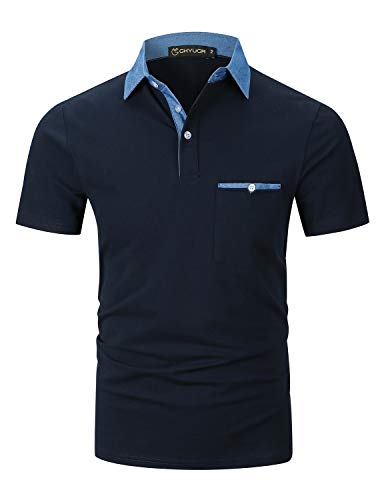 Ghyugr polo uomo manica corta maglietta denim collare casuale poloshirt camicia golf t-shirt