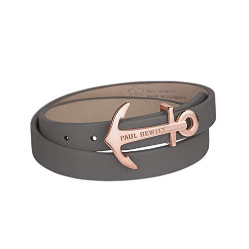 PAUL HEWITT Damen Wickelarmband North Bound aus Leder in Grau und Anker aus Edelstahl in Roségold Armband-Länge 37,5 cm