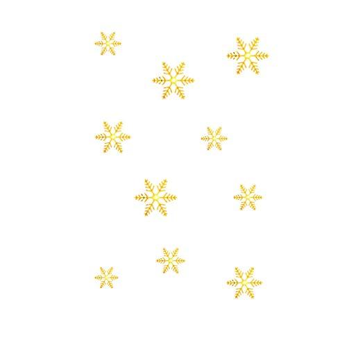 Deloito Weihnachten Fensterdeko Gold Silber Schneeflocke Wandaufkleber Haus Dekoration Fenstersticker Spiegel Aufkleber (Gold-02,Freie Größe)