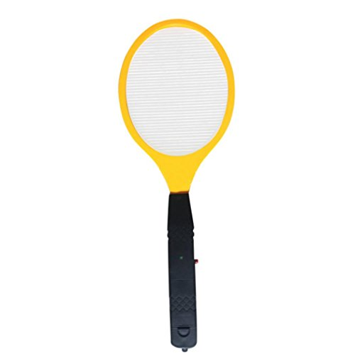 Gusspower Matamoscas eléctrico - Raqueta eléctrica Mata Mosquitos - Raqueta pequeña Negra - exterminadora de Insectos con Mango(1*Matamoscas, 2 AA baterías)