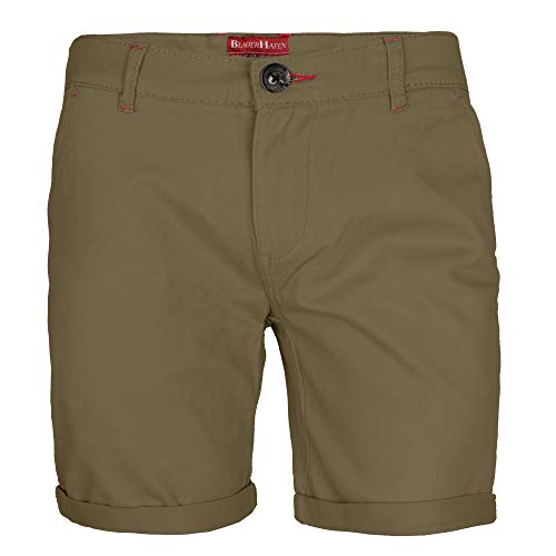 BlauerHafen Herren Stretch Chino Shorts Slim Fit Bermuda Kurze Hose Strecken-Baumwolle (W32 (Taille: 84-86cm), Khaki) Herren Khaki Chino