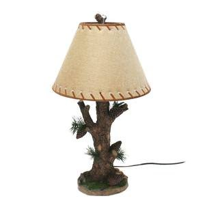 De Leon Collections Pine Cone Desk Lamp with Shade 28 Inches Tall