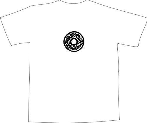 T-Shirt E1178 Schönes T-Shirt mit farbigem Brustaufdruck - Logo / Grafik / Design - abstraktes Ornament mit Blüte Schwarz