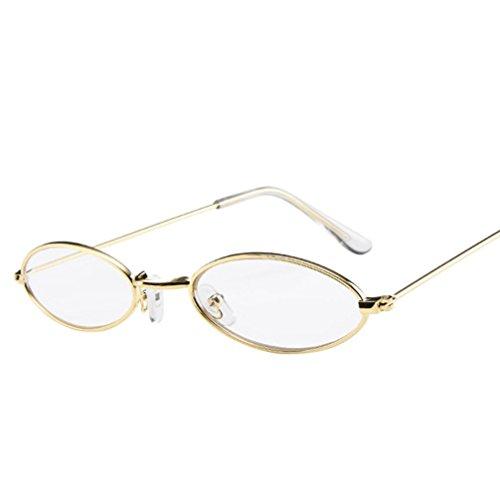 VENMO Mode Herren Retro kleine ovale Sonnenbrille für Damen Metallrahmen Shades Brillen Katzenauge Metall Rand Rahmen Damen Frau Mode Sonnebrille Gespiegelte Linse Women Sunglasses (B)