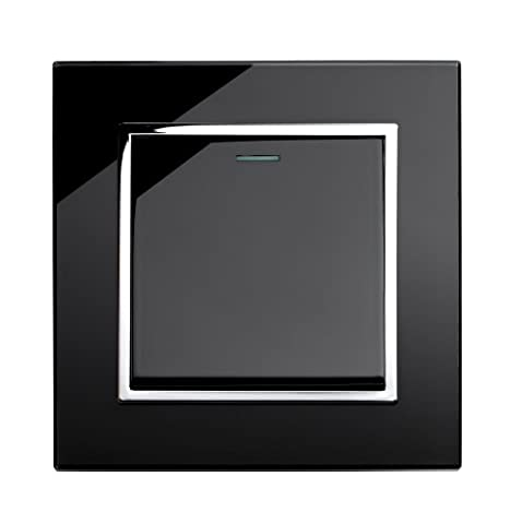 Retrotouch Crystal 1-Gang 2-Way 10A Light Switch Black Glass with
